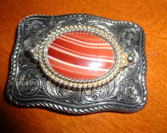 Agate and Silver Belt Buckle