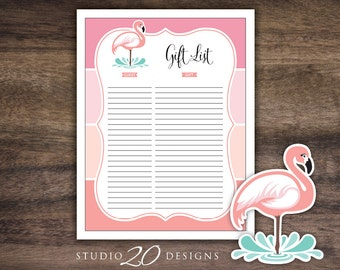 Instant Download Flamingo Baby Shower Gift Registry, Printable Pink Flamingo Gift List, Pink Coral Ombre Gift Tracking Sheet 91A