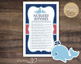 Instant Download Whale Nursery Rhyme Quiz, Whale Nursery Rhymes Game, Nautical Baby Shower Games, Navy Blue Red Whale Baby Shower Games 20D