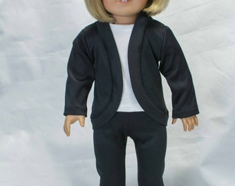 JACKET Cardigan Pants Leggings Warm Up Dance Outfit in Black Knit for American Girl or 18 inch doll