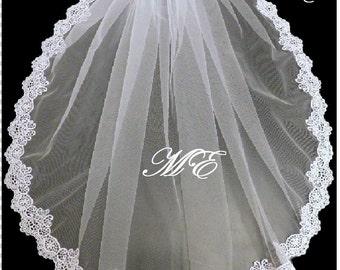 Bridal veil 1 Tier  Mantilla LACE EDGE  bridal veil. Shoulder-CathedralLength Bridal wedding veil. White, Ivory,