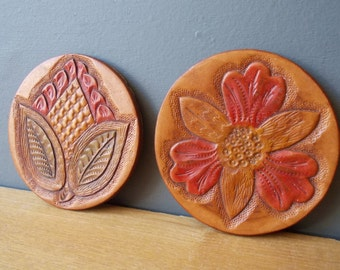 Vintage Leather COASTERS / Made in USSR / Genuine Leather Home decor / Bar / Glass PAD