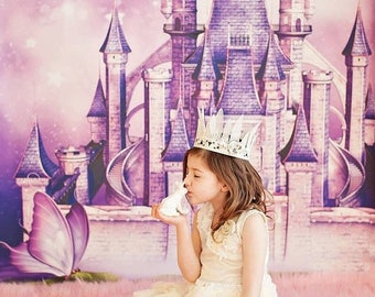 5ft x 6ft Fairy Tale Princess Castle Photo Backdrop - Fantasy Photography Backdrop - Vinyl or Poly - Item 1650