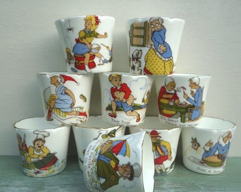 Vintage Nursery Rhyme Egg Cups, Staffordshire Fine Bone China, Colourful Children's Tableware