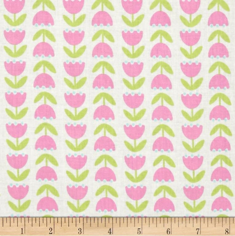 Floral fabric by the yard quilting cotton pink green for Vintage childrens fabric by the yard