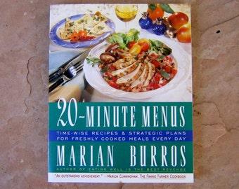 20 Minute Menus by Marian Burros, Marian Burros Cookbook, 1995 Vintage Cook Book