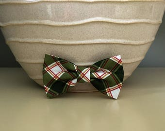 Dog Bow / Bow Tie - Wide Green White Plaid w Red Gold Lines
