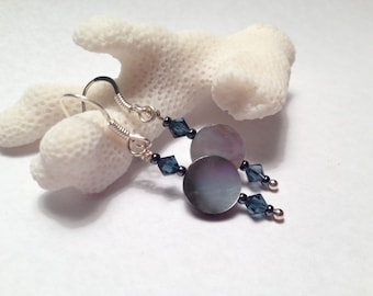 Iridescent Shell Earrings with Navy Crystal Accents