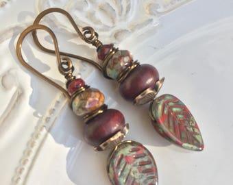 Red Leaves Earrings - autumnal earrings - rustic earrings - nature-inspired earrings - gift for her - gift for mother - boho chic