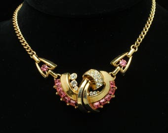Lisner Vintage Necklace Pink Rhinestones Dressy Evening