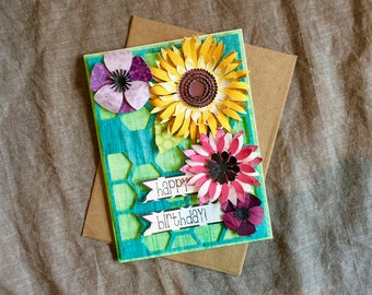 Honeycomb and Flowers Birthday Card