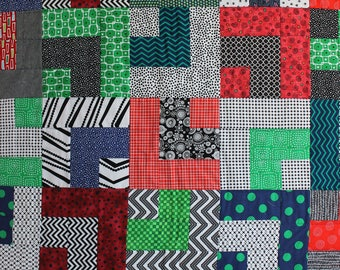 """Modern Baby Quilt; """"William""""; Red, Blue, Green; Contemporary; Baby Quilt; Lap Quilt, Play Mat, Wall Hanging, Gender Neutral, Geometric"""