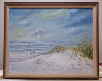 Beautiful Vintage M.R. Hadley Ocean Seascape Oil Painting w Antique Wooden Frame
