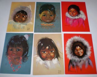 6 Canadian Eskimo Children Postcards Audrey Young Oppel, Dorothy Francis, Gamins