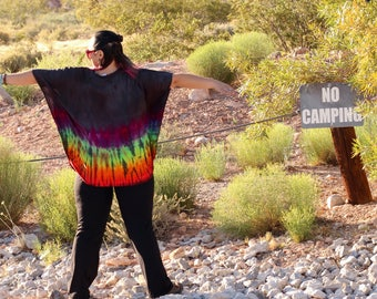 Tie Dye Loose Fitting Plus Size Top, Trippy Rainbow Flowy Clothes