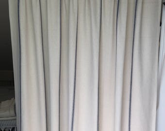 """SET (2) of Fully lined Drapery Curtain Panels - 50"""" wide, either 84"""" or 96"""" custom in reproduction feedsack grainsack cream with navy stripe"""