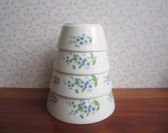 Four Vintage Ditmar-Urbach Czechoslovakia Nesting Bowls Blue Forget-me-nots Flowers Green Leaves Salad Fruit Ceramics Kitchenware 30s - 50s
