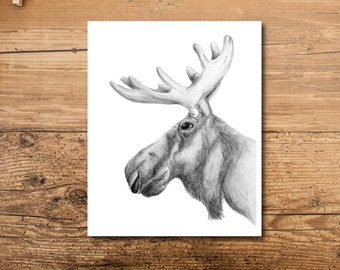 Moose Art - Moose Art Print - Unique Moose Art - Moose Art Drawing - Moose Art Decor - Woodland Moose Art - Woodland Animal Art - Cabin Art