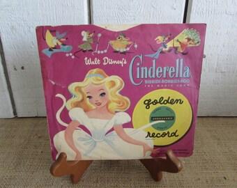 Walt Disney Cinderella Golden Record, Vintage Cinderella Record, Golden Record Cinderella, 1950 Cinderella Golden Records, Vintage Records