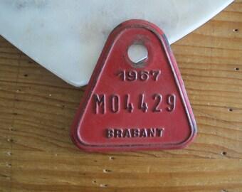 Vintage Bicycle License Tag, Belgian Bicycle Tag, European Bicycle License, Metal Tags, Vintage Metals, Vintage Belgian License Tag