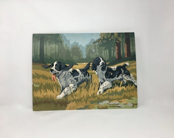 Vintage, Original Paint By Number Dogs, Midcentury Unframed Painting of Spaniel Dogs