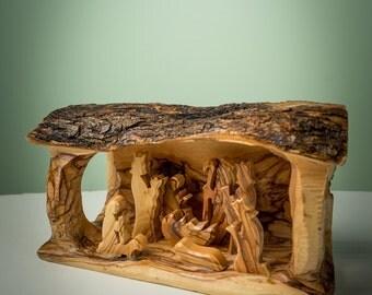 Olive Wood Nativity grotto /carved nativity creche/ Holy Land - E05L