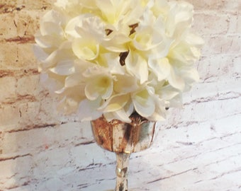 Mercury Glass Compote with Cattleya Orchid Ball in Cream/White