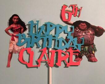 Moana Cake Topper, Moana Centerpiece Moana Birthday Banner, Moana Birthday, Moana Personalized Cake Topper, Moana Decorations