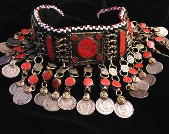 N9076- Beautiful Vintage Style Kuchi Choker Excellent Condition - Belly Dance Ethnic Statement Necklace Boho Gypsy