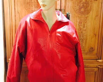 Removable Real Rabbit Fur Liner /Boho Red Leather Vixen Leather Bombers Moto Jacket/ Rockabilly Hipster Avant Garde S