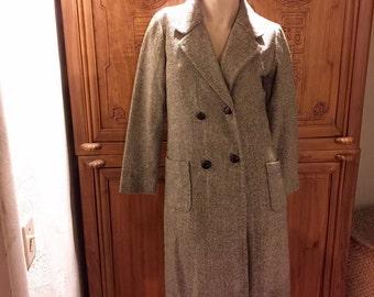 Vintage Herringbone Tweed Houndstooth Double Breated Bohemian Chic Lightweight Dapper Wool Coat