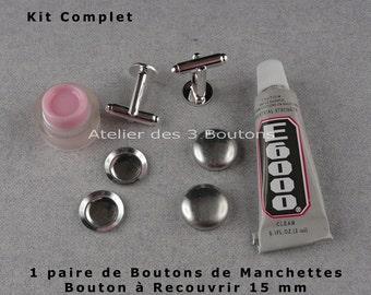 1 paire de Boutons de Manchettes - Boutons à recouvrir 15 mm