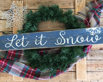 Let it Snow/Christmas Sign/Vintage Christmas Sign/Rustic Christmas Sign/Christmas Decor/Christmas Wall Decor/Farmhouse Christmas Decor