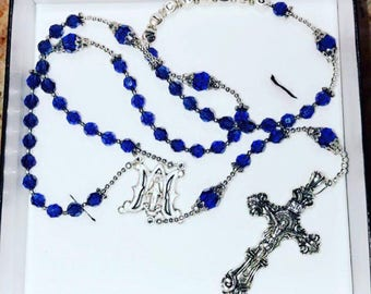 Custom Swarovski Dark Blue Rosary