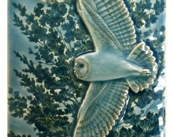 "Barn owl, ""Flying Barn"" ceramic tile, wall art, 4 x 8 inch sculpted wall art."
