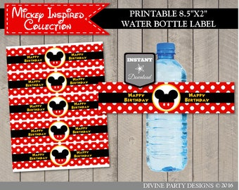 INSTANT DOWNLOAD Printable Classic Mouse Happy Birthday Water Bottle Labels / Wrappers / Classic Mouse Collection / Item #1598