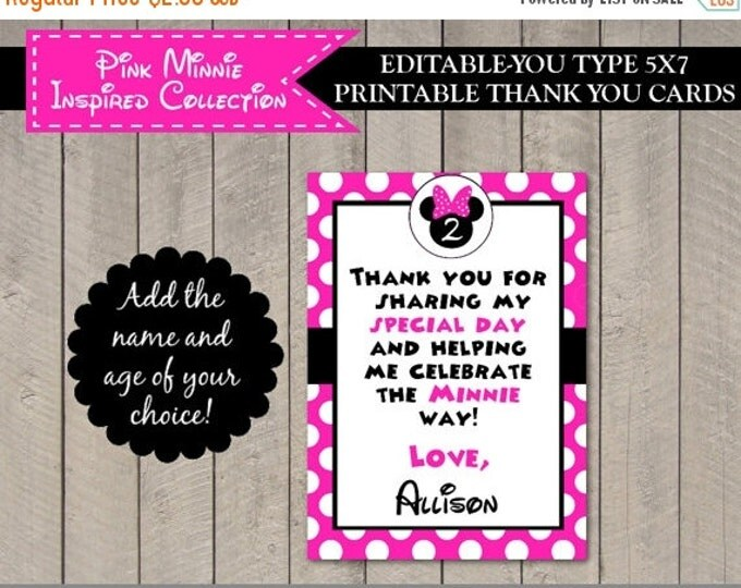 SALE INSTANT DOWNLOAD Editable Hot Pink Mouse 5x7 Thank You Card / You Type Name / Hot Pink Mouse Collection / Item #1730
