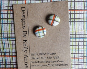 Earrings Button-  Cream with Green and Aqua and Orange- Small 1/2 Inch