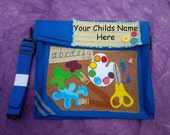 Personalised Primary School Nursery or Day Care  Royal Blue Art Attack Book Bag A4 Toddler