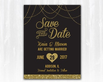 Gold Glitter Save The Date Magnet or Card DIY PRINTABLE Digital File or Print (+) Gold Glitter Wedding Save The Date Gatsby Save The Date