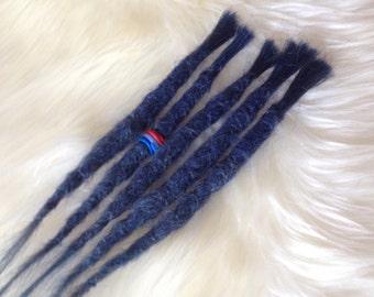 5 Natural Dreadlock extensions - Human hair - Blue purple. Incl dreadpearl