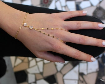 Bracelet with ring | Chain Hand Bracelet | Slave Bracelet | hand chain | Finger Bracelet | hand bracelet | hand jewelry | gold jewelry