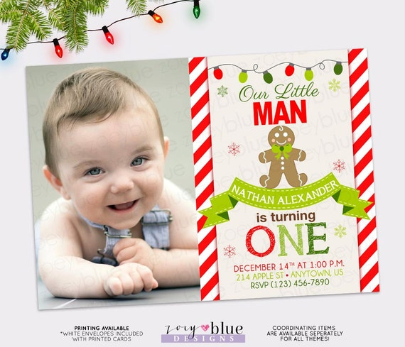 Gingerbread Birthday Invitation Boy First Birthday Little Man - Digital first birthday invitation