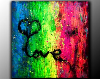 Art Acrylic Painting love UV Glow in the dark Fluorescent Abstract Contemporary Wall Art Painting on canvas textured painting large square