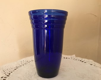 """Pretty Cobalt Blue Glass or Small Vase with Ribbed Art Deco Design 5 1/2"""" tall"""