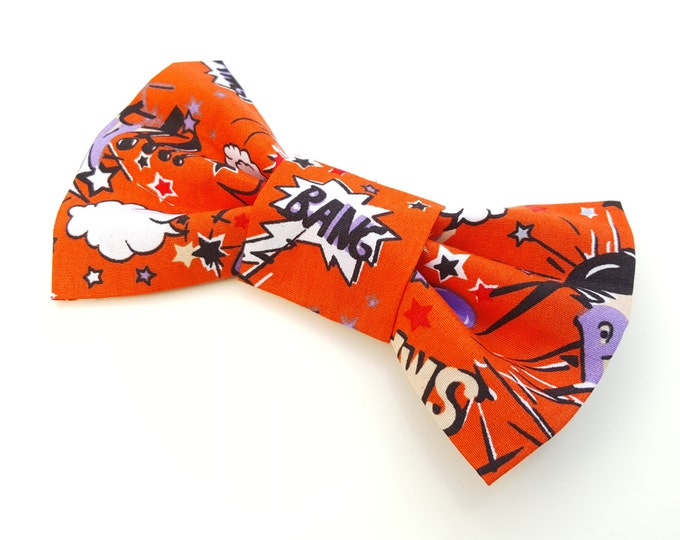 Dog Bow Tie - Super Hero Pow Orange