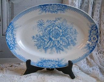 Antique french blue transferware oval serving platter. Antique French transferware. Jeanne d'arc living. Jardinière. Bright light blue