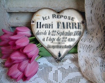 Antique french enamel grave marker. Enameled metal heart. Enamel funerary plaque. Memento mori. Tombstone plaque. jeanne d'arc living