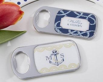 Personalized Metal Bottle Opener, Nautical Wedding Favors, Custom Wedding Bottle Opener (11141NW)