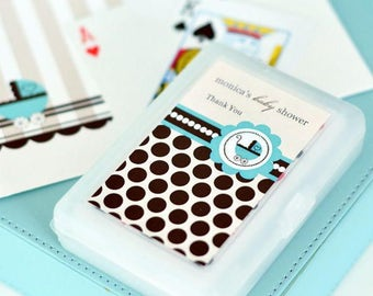 Personalized Playing Cards - Baby Shower Favors, Deck of Cards, Baby Carriage Favors, Baby Shower Party (2033)